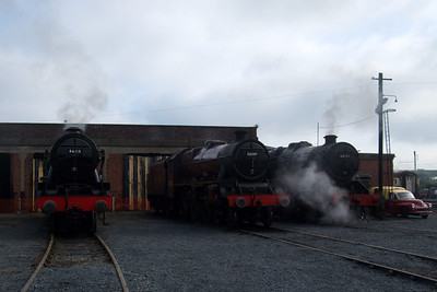 46115 Scots Guardsman, 5690 Leander and 48151 Gauge O Guild at Carnforth.