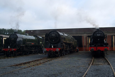 30777 Sir Lamiel, 70013 Oliver Cromwell and 46115 Scots Guardsman outside Carnforth shed.