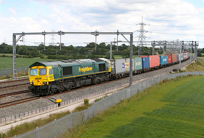 66588 heads along the down slow appraoching Lichfield Trent Valley with 4M81 07.30 Felixstowe to Crewe Freightliner.