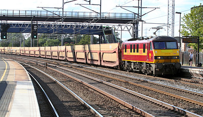 90018 has charge of 6L48 16.31 Garston to Dagenham car carriers passing Rugeley Trent Valley.
