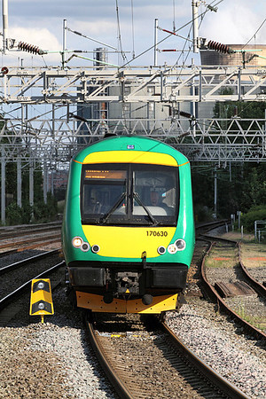 170630 arrives at Rugeley Trent Valley from Birmingham New Street.