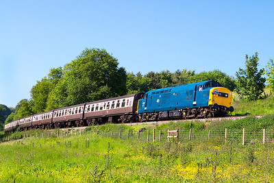37215 climbs past Roebuck Crossing with the 15.45 Minehead to Bishops Lydeard. Saturday 8th June 2013.