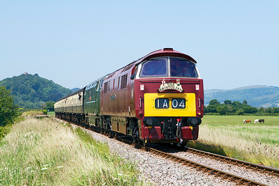 D1010 & D832 approach Blue Anchor with 11.55 Minehead to Bishops Lydeard. Saturday 8th June 2013.