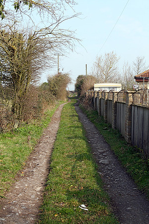Track bed of the Weston, Clevedon & Portishead Railway looking north towards Clevedon at Ebdon Lane crossing. The station shelter would have been on the right.