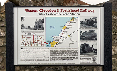 The Weston Clevedon & Portishead Railway Group made a request to Weston-super-Mare council to erect an information board on the site of the WC & P Ashcombe Road Station and name the lane which now covers the trackbed bed 'Colonel Stephens Way'. The requests were accepted and MP John Penrose unveiled the information board on Friday 9th December 2011. The group hope to place further information boards along the route.