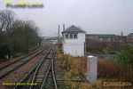 The bubblecar is now coming off the Neasden Curve at Neasden Junction and the road is set for the crossover to the down Cricklewood line. The former Midland Railway signalbox has been somewhat modified over the years but still shows its parentage, even with finials still in place. 11:15, Thursday 4th February 2010. Digital Image No. GMPI4386.