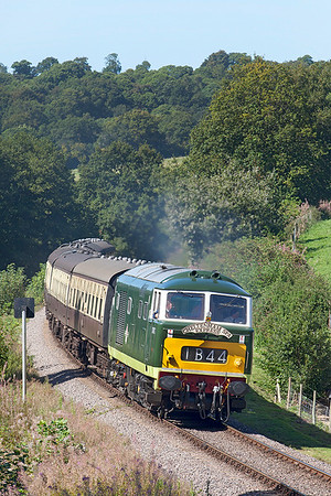 D7017 passes Roebuck level crossing heading 13.45 Minehead to Bishops Lydeard. Sunday 31st August 2014.