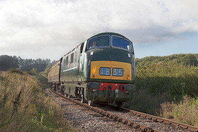 D832 'Onsaught' passes Whisky Trail Crossing working 09.00 Bishops Lydeard to Minehead. Sunday 31st August 2014.