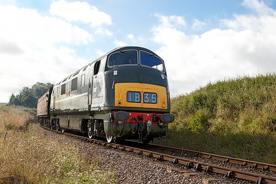 D832 'Onsaught' arrives at Doniford Halt working 09.00 Bishops Lydeard to Minehead. Sunday 31st August 2014.