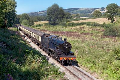 S & D 2-8-0 No.88 arrives at Crowcombe Heathfield working 12.45 Minehead to Norton Fitzwarren. Sunday 31st August 2014.
