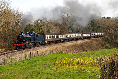 S & D No.88 makes a fine sight as she climbs past Norvis Bridge with the 14.45 Bishops Lydeard to Minehead. Saturday 29th March 2014.