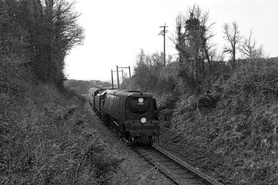 34007 'Wadebridge' drifts round the curve into Doniford with the 09.00 Bishops Lydeard to Minehead. Saturday 29th March 2014.