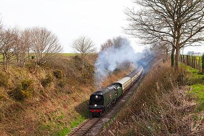 "34007 'Wadebridge' climbs into Crowcombe Heathfield with 13.50 Norton Fitzwarren to Minehead returning ""Atlantic Coast Express"". Saturday 29th March 2014."
