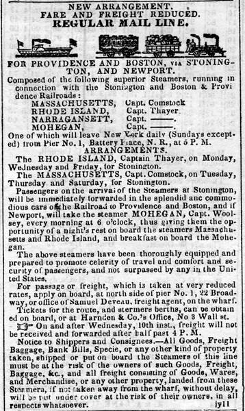 1843 Harden & Company, Providence & Boston Railroad Corporations.