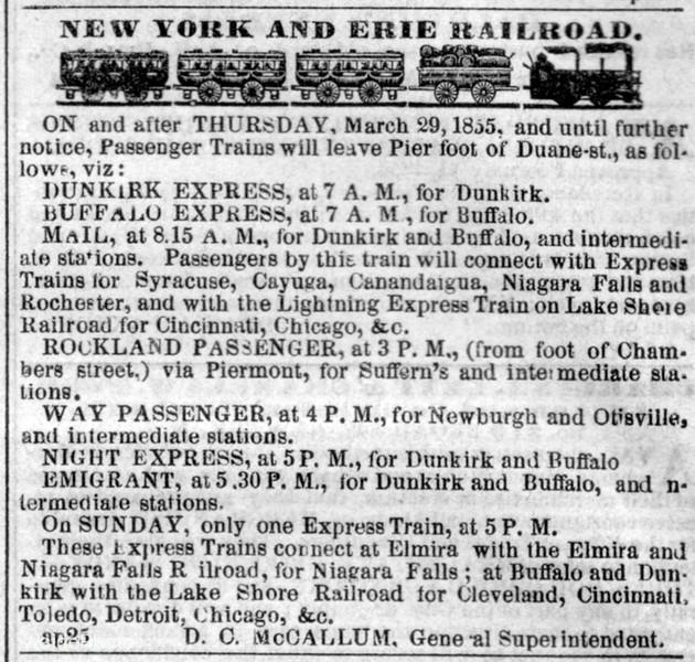 1855 New York & Erie Railroad.