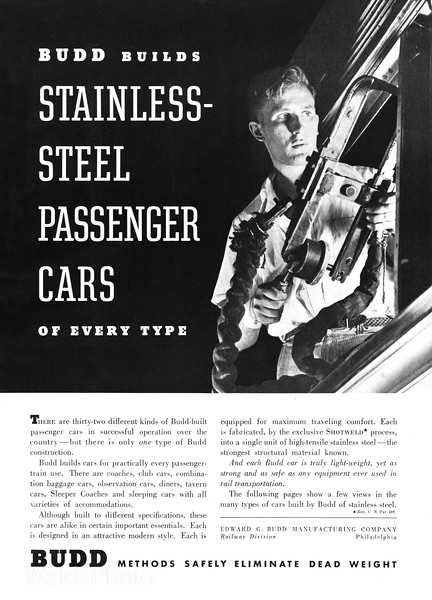 1940 Budd - Stainless Steel Passenger Cars Page 1 of 4.