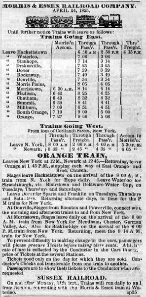 1855 Morris & Essex Railroad Company.
