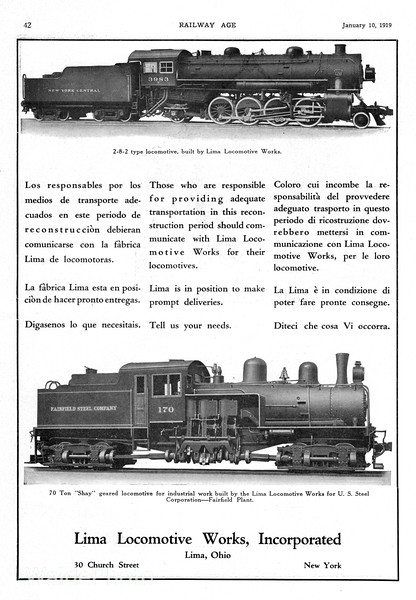 1919 Lima Locomotive Works.