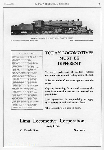 1916 Lima Locomotive Corporation.