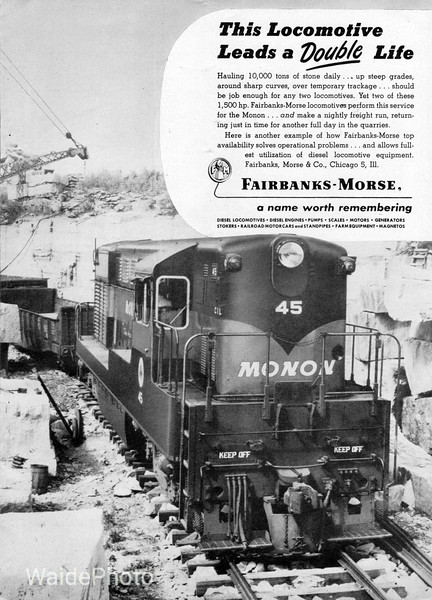 1945 Fairbanks-Morse.<br /> <br /> Monon H15-44 #45 pictured in or around Bedford, Indiana.