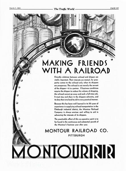 1931 Montour Railroad.