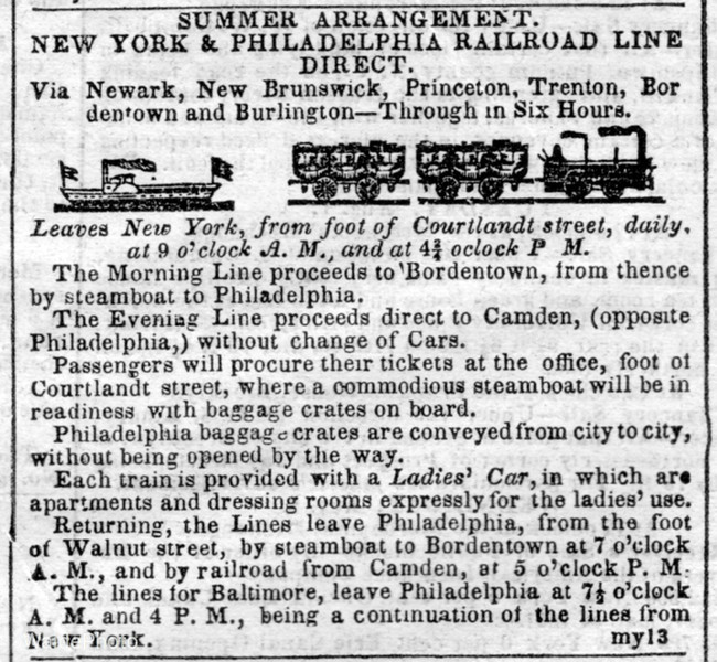 1843 New York & Philadelphia Railroad.