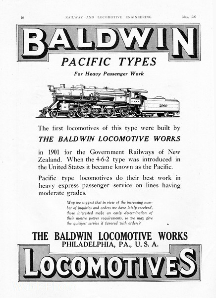 1920 Baldwin Locomotive Works.