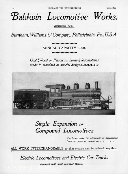 1899 Baldwin Locomotive Works.<br /> <br /> Featured - Midland Railway of England #2501.