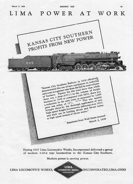 1939 Lima Locomotive Works.