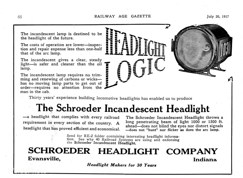 1917 Schroeder Headlight Company.