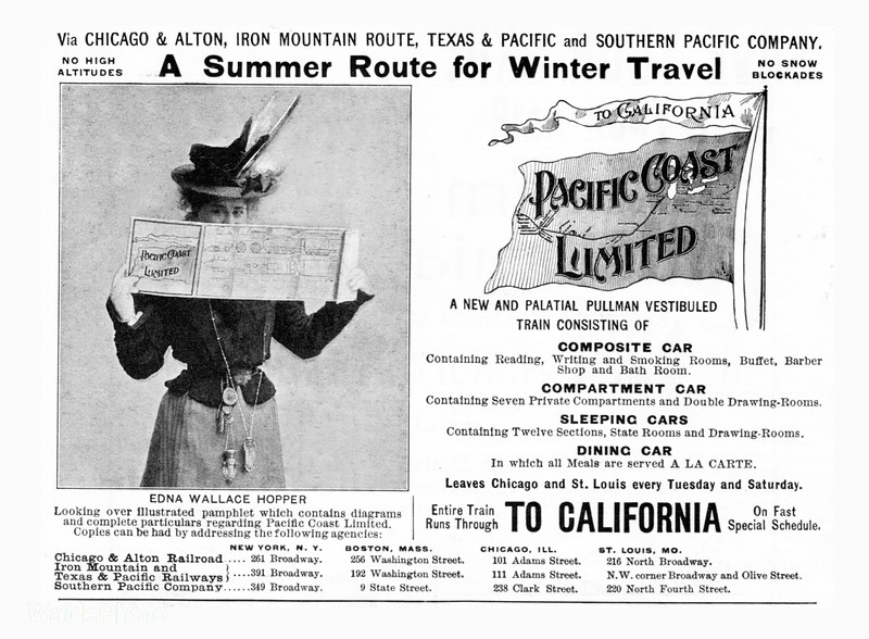 1899 Southern Pacific.<br /> <br /> Featuring actress Edna Wallace Hopper.
