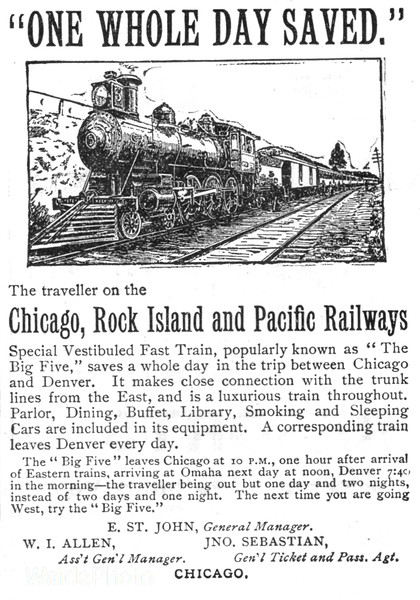 1892 Chicago, Rock Island, & Pacific Railway.