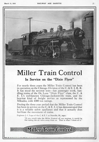 1916 Miller Train Control.
