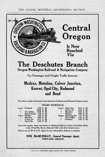 1911 Oregon-Washington Railroad & Navigation Company.