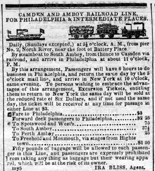 1843 Camden & Amboy Railroad.