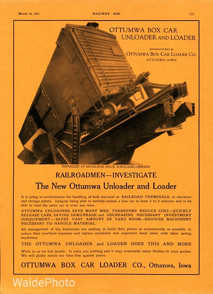 1921 Ottumwa Box Car Loader Company.