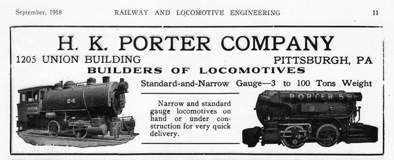 1918 H.K. Porter Locomotive Company.