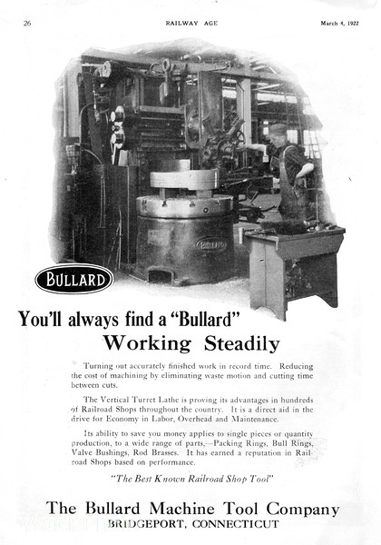 1922 Bullard Machine Tool Company.