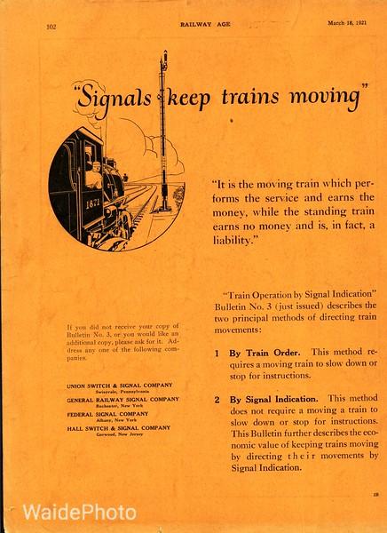 1921 Union Switch & Signal Company, General Railway Signal Company, Federal Signal Company, and Hall Switch & Signal Company.