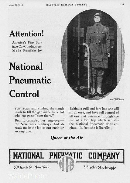 """1918 National Pnuematic Company.<br /> <br /> """"America's First Surface Car Conductress..."""" - New York Railways."""