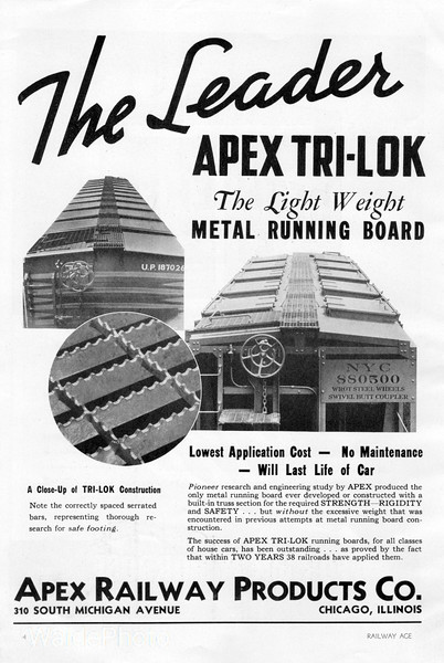 1940 Apex Railway Products Company.