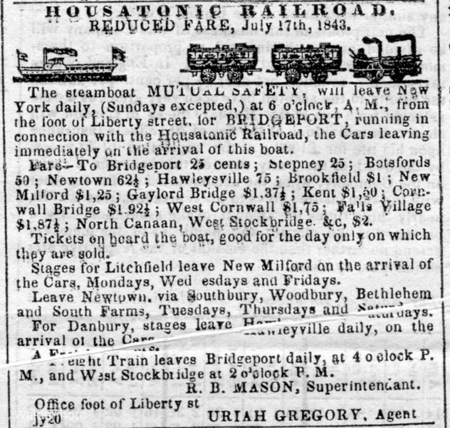1843 Housatonic Railroad.