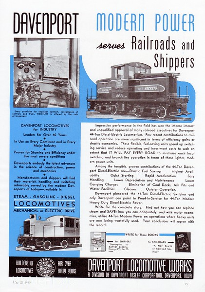 1940 Davenport Locomotive Works.