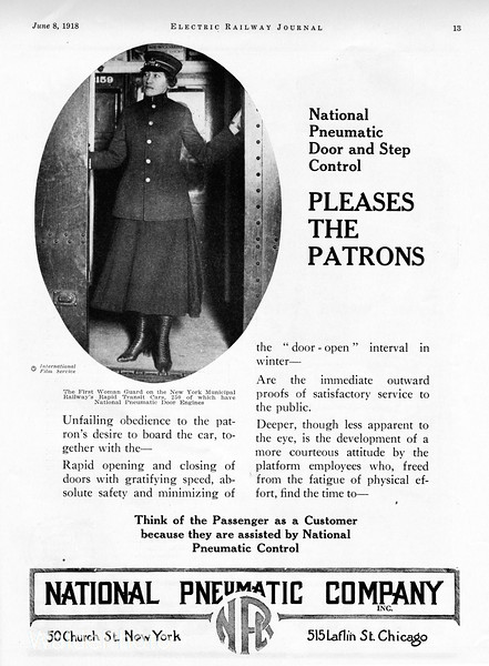 "1918 National Pneumatic Company.<br /> <br /> ""First woman guard on the New York Municipal Railway's Rapid Transit Cars."""