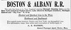 1899 Boston & Albany Railroad advertisement.