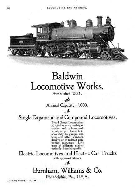 1896 Baldwin Locomotive Works.<br /> <br /> Baltimore & Ohio Southwestern Railroad #140.