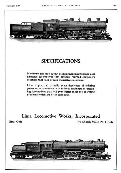 1920 Lima Locomotive Works.