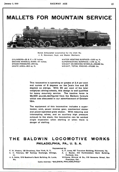 1919 Baldwin Locomotive Works.