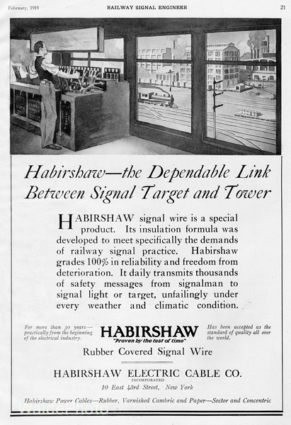1919 Habirshaw Electric Cable Company.