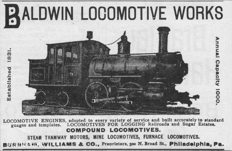 1893 Baldwin Locomotive Works.